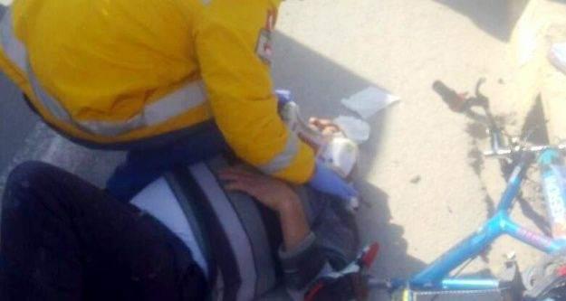 Yolcu minibüsü bisiklete çarptı: 1 yaralı