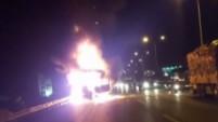 TEM'de seyir halindeki TIR alev alev yandı